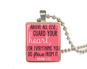 Pink Above All Else Guard Your Heart Necklace | Proverbs 4:23 Necklace | Proverbs Pendant | Verse Necklace | Verse Jewelry