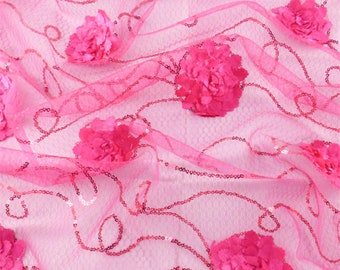 Fuchsia Pink Sequin Mesh w/ Floral Appliques, Fabric By The Yard