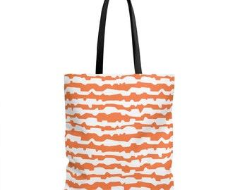 Modern Stripe Tote Orange