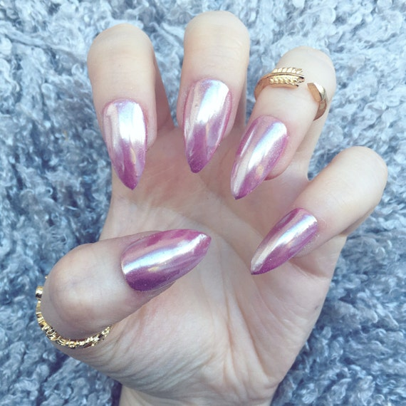 NAILED IT Hand Painted False Nails Rose Gold Chrome Mirror