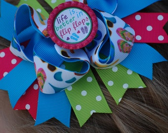 Flip flop Bow - Flip flop Hair Bow - Summer Bow - Summer Hair Bow - Flip Flop Hair Clip - Flip Flops - Hair Clip - Life is Better in Flops