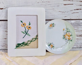 Black Eyed Susans, yellow and green set, yellow flower embroidery, Meito china plate, hand painted plate, yellow rose plate, floral tabletop