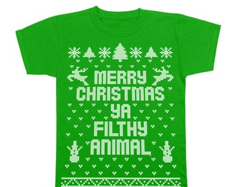 Merry Christmas Ya Filthy Animal Ugly Sweater Contest Retro Cute Youth T-Shirt DB0002
