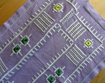 Scandinavian textile kitchen linen placemats Lilac serving napkin Swedish geometric ethnic embroidery Mid century farmhouse decor needlework