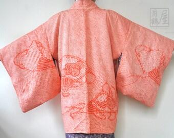 Shibori haori/silk kimono jacket/japanese short kimono robe/vintage red floral kimono cardigan/oriental boho jacket/duster coat