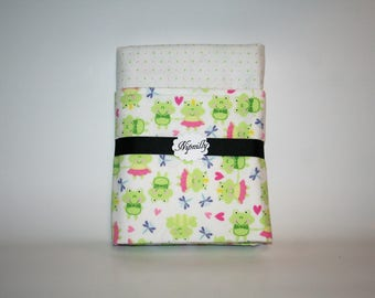 Frog themed flannel baby blanket, baby girl, pink, green, reversible blanket, baby shower gift, baby blanket, ready to ship