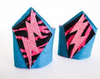 Blue and Pink Kid's Superhero Wrist Cuffs / Felt Costume Accessories / Arm Bands