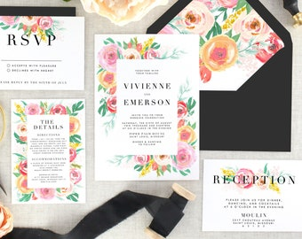 Pink Floral Wedding Invitation and Envelope - Printed Wedding Invitation Garden - Floral Wedding Invitation Suite Modern - Set of 10