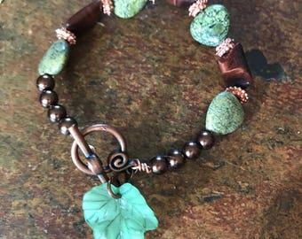 Brookside Bracelet - Handmade Gifts for Her - Copper and Green Stone Leaf Charm Bracelet