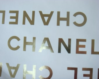 """100% Authentic Chanel white and Gold CHANEL Logo Gift Wrapping Paper 36"""" x 18"""""""