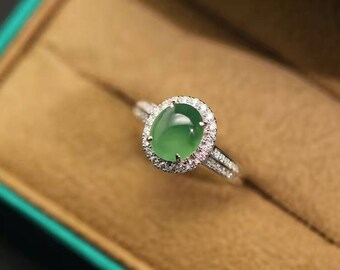 Large Prehnite Engagement Ring With Diamond Halo And Split Shank, on 14k white gold