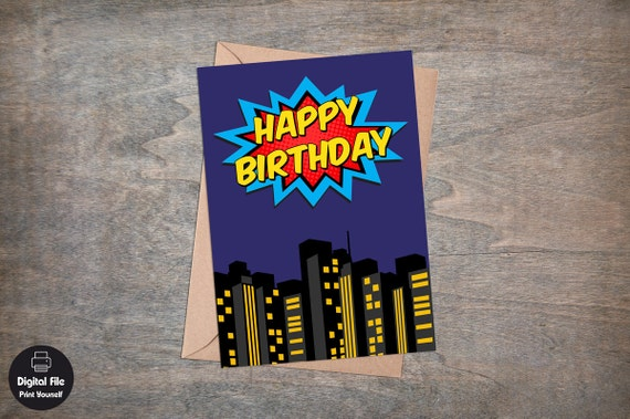 Superhero birthday card printable greeting card happy superhero birthday card printable greeting card happy birthday superheroes party city background kids baby boys dark blue bookmarktalkfo Gallery