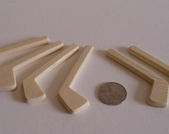 Set of 6 Natural Wood Miniature Decorative Ice Hockey Player Sticks, Wedding Boutonnieres, DIY Pins, Jacobs Wooden Toys