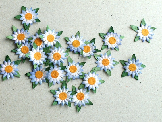 25mm blue white die cut flowers 20 flat paper flowers with mightylinksfo