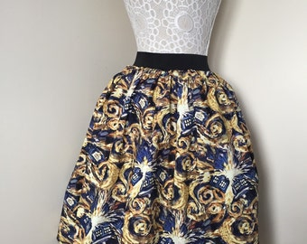 Ladies or girls Dr Who Van Gogh TARDIS full skater style skirt