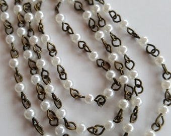 3mm White Pearl and Brass Chain Necklace, rosary chain, beaded chain, bead chain, bead links