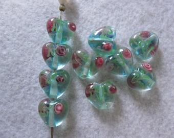 Heart Beads, Love Beads, 12mm, Lampwork Glass Heart Beads, Blue Heart Beads, Jewelry Supplies, Craft Supplies, Valentine Beads, 10 Pieces