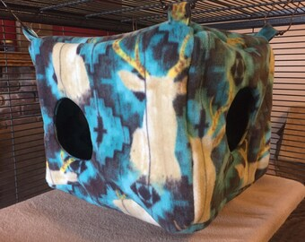 LARGE Ferret Hammock, Ferret Bedding, Fleece, Rat Bedding, Hanging Cube, Ferret Cage, Fleece Bedding, Small Animals