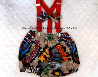 Smash Cake Outfit Boy Girl 1, 2, or 3 piece Marvel Diaper Cover Bow Tie Suspenders First Birthday 1st Birthday Comics Nappy Photoshoot3