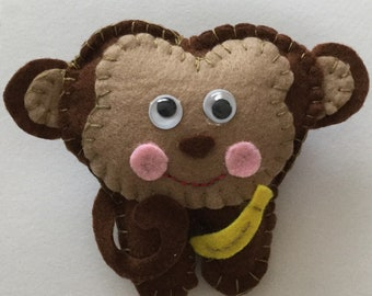 Monkey tooth fairy pillow,  tooth fairy box, animal tooth fairy pillow  with initial on back pocket