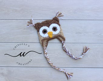 Crochet Owl Hat Brown and Tan Owl Hat Baby Owl Hat