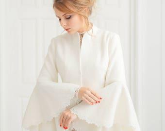 Wedding Coat | Bridal Jacket |Wedding Jacket | Bridal Coat | Wedding Cover  Up | Boucle Coat | White Coat | Winter Jacket | Geisha