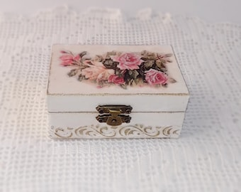 Wooden Jewelry  Box Handmade Decoupage Storage Box With Pink And Yellow Roses For Home Decor