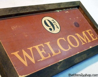 Harry Potter Inspired Welcome Plaque Sign Hogwarts Express Unique