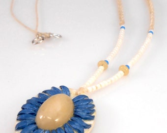 Cornflower Blue Polymer Flower with Yellow Calcite Cab Bead Crochet Pendant