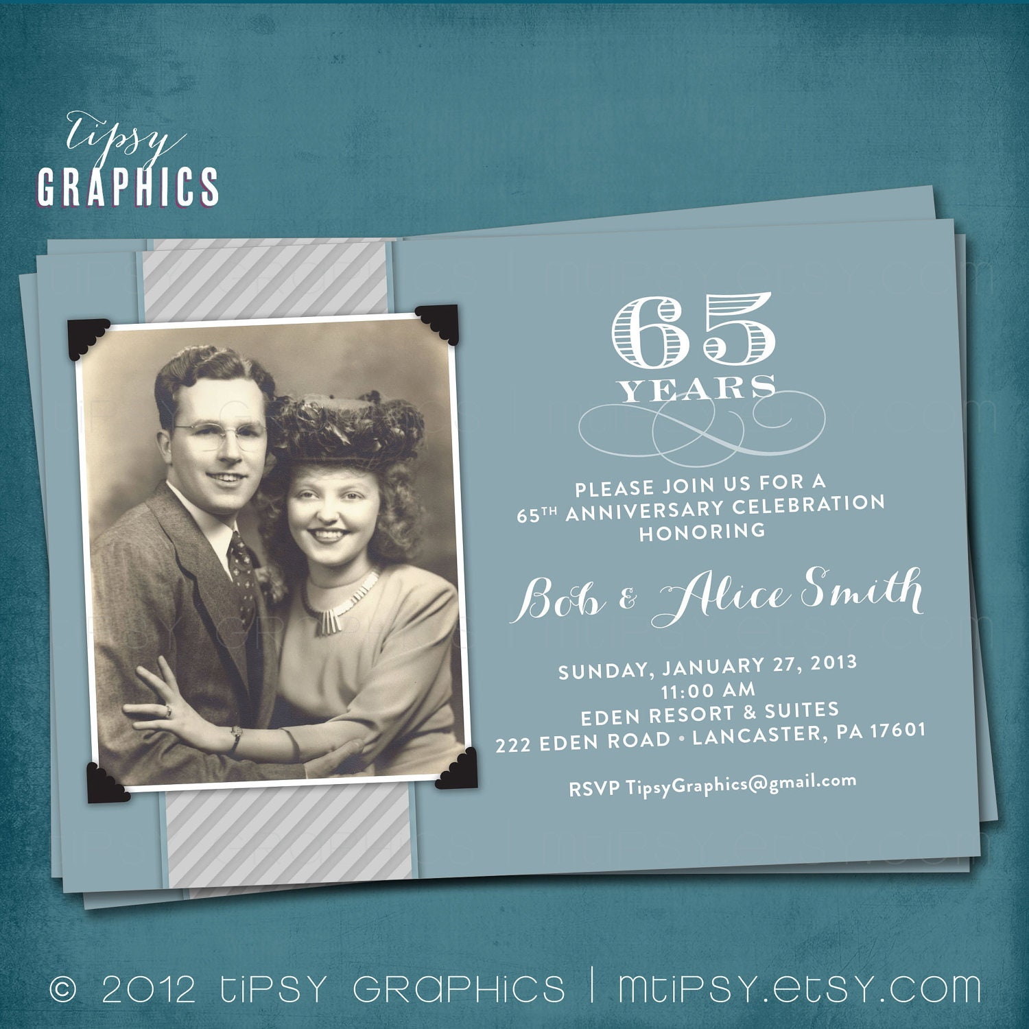 Blue & Silver. 65th Wedding Anniversary Invitation or