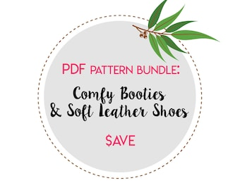PDF Sewing Pattern Bundle. Multiple Purchase Discount. Tutorial - Comfy Booties, Soft Leather Shoes. Waldorf Doll shoes.
