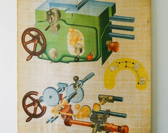 Original SCIENTIFIC TECHNICAL Vintage German School Wall Chart MACHINE Industrial Lathe Rare Eductional