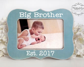 Big Brother Gift Big Brother Picture Frame Big Brother Gift Big Brother Established 2017 Brother Personalized Picture Frame 4x6