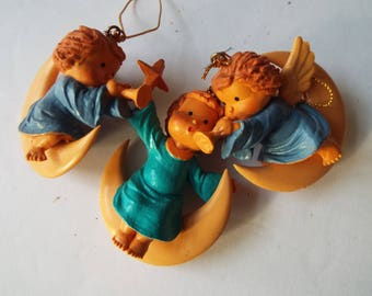 set of 3 angels sitting on crescent  moon Christmas angel ornaments molded resin plastic angel trumpet horn star