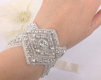 Faye - Vintage style Rhinestone with ribbon Bridal Bracelet