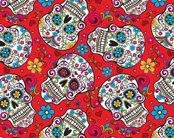 Skulls Sugar Day Of The Dead Flowers On Red Background .... Cotton Fabric....  Fat Quarter