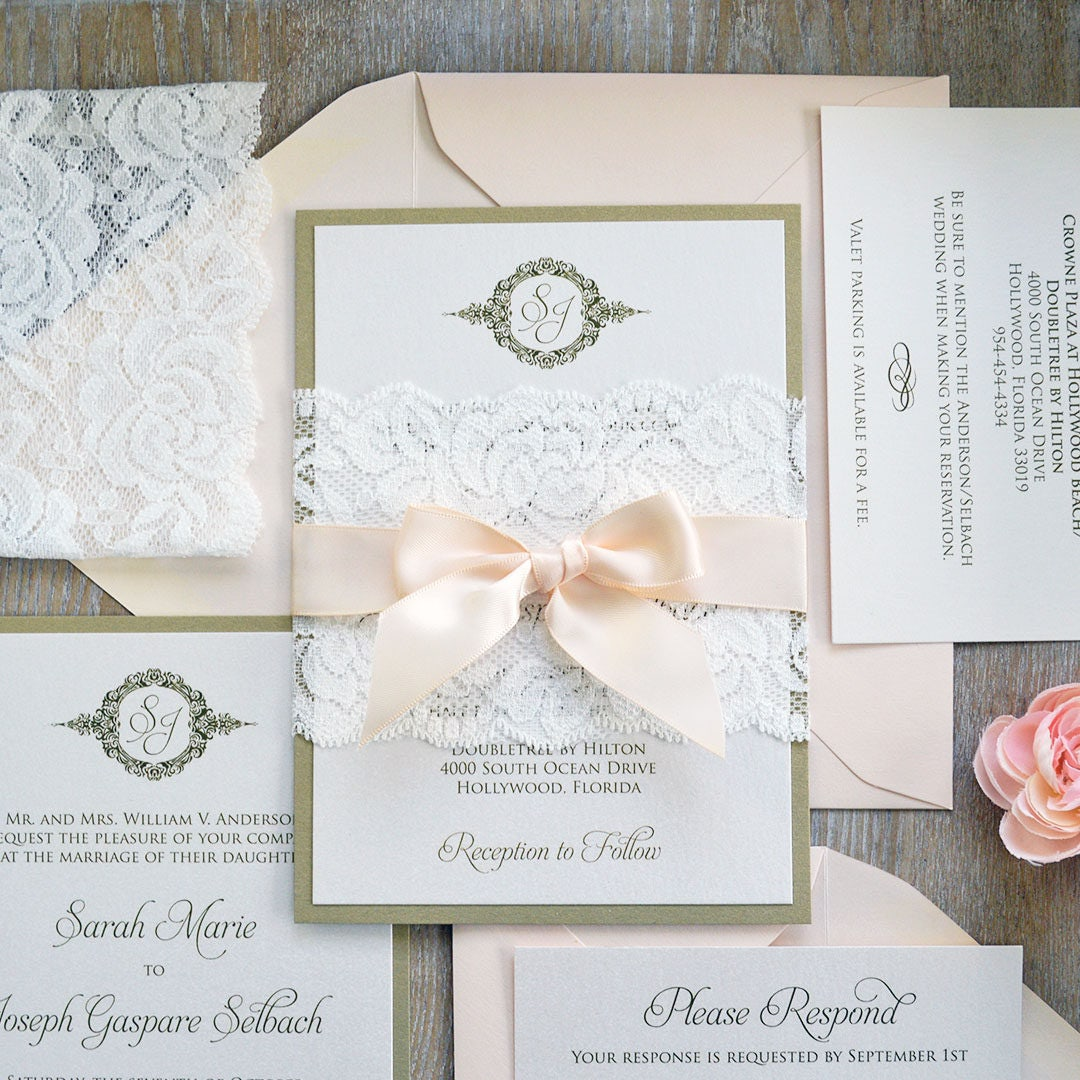 SARAH - Lace Wedding Invitation - Gold and Ivory Shimmer Card Stock ...