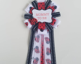 Ladybug baby shower mommy to be, dad to be, grandma to be, corsage pin, party theme