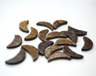 Bronzite Flat Crescent 13x35mm Beads (Set of 17)