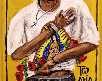"""St. Juan Diego/ Our Lady of Guadalupe modern icon 5""""x7"""" print"""