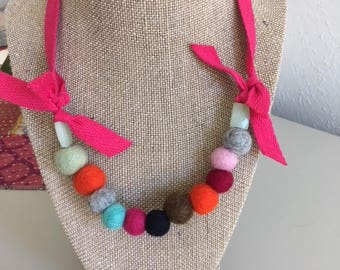 Wool Felt Ball Necklace*Multi Colored* Adjustable
