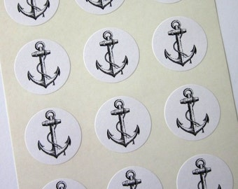 Anchor with Rope Stickers One Inch Round Seals