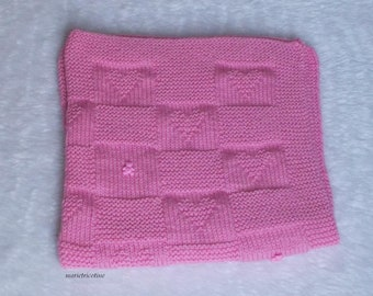 wool baby blanket pink heart and teddy bear knit hand 80 x 65 marietricotine