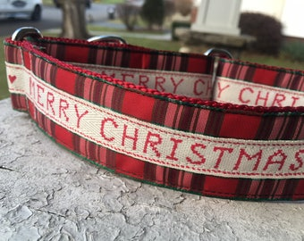 "Merry Christmas! Love, Sal (Green) - 1.5"" Craft Martingale Collar"