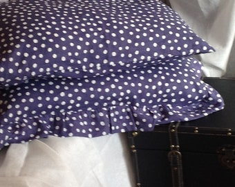 Set of two Stone washed blue polka dots linen pillow cases: 1 with ruffles +1 without ruffles