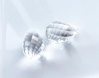 Clear White Crystal Quartz Spiral Cut Briolette Pair