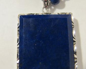 Lapis Lazuli Rectangle Necklace Dark Blue