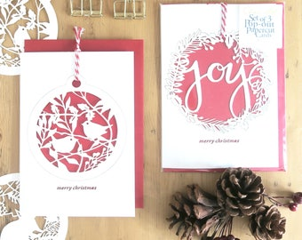 Set of 3 Christmas cards, Christmas card pack, Christmas card set, Christmas ornaments, Christmas bauble cards, Christmas ornament card