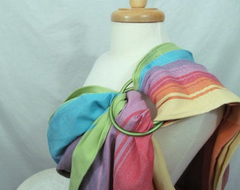 Ring Sling Baby Carrier Wrap Conversion - WCRS - Twill Weave Sandy Agate - DVD included- Reg or XL - baby shower gift, rainbow sling