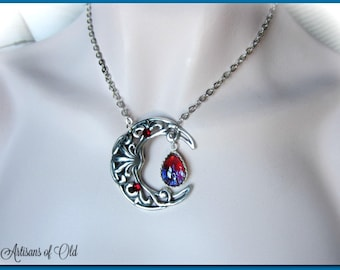 Dragons Breath Opal Necklace, Floating Glass Pendant, Silver Filigree Crescent, Statement Necklace